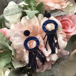 BaubleBar Blue Tassel Earrings EUC